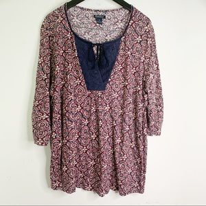 Lucky Brand Boho Plus Sized Blouse Top